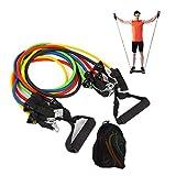 Minikimi weerstandsbanden, set weerstandsbäder, fitnessbäender, yoga, gymnastiekbäder, 5 oefenbaden, handgrepen, deurranken, enkelriemen en draagtas, voor spieropbouw, yoga
