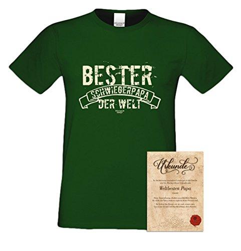 bequemes T-Shirt Herren Männer Motiv Bester Schwiegerpapa der Welt Geschenk-Idee, Vatertag, Weihnachten kurzarm Outfit, Kostüm Farbe: dunkelgrün Dunkelgrün