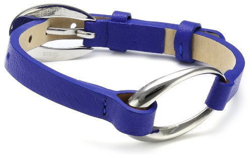 Esprit Damen Armband Edelstahl Leder 20 cm blau ESBR11423G200