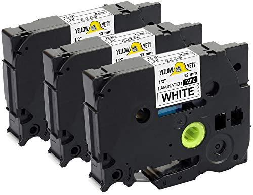 Xemax 3x Reemplazo P-touch 0.35 Tze-325 Tze 325 9mm x 8m Blanco sobre Negro Cartucho de Etiquetas para Brother P-touch PT-H105 PT-H101C PT-1010 PT-D450VP PT-D600VP PT-P700 PT-E100 PT-P750W