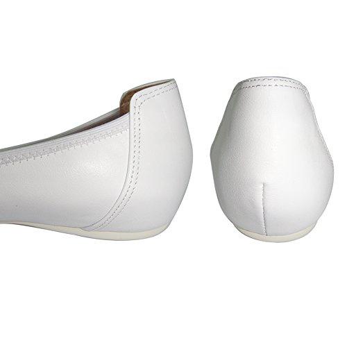 Damen Ballerinas Weicher Leder Sandalen Schwarz Weiß Rosa (Bitte achten Sie darauf, dem linken Bild zu folgen, um die Fußlänge zu bestimmen) Weiß