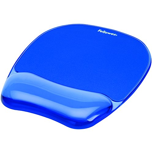 Fellowes 911410 Mouse Pad con Poggiapolsi Crystal Gel, 23.5x23x1.5 cm, Azzurro