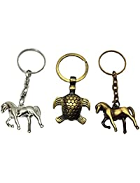Antique Metal Horse And Tortoise Key Ring Set | KeyChains | Keyrings For Bike Car Bag Purse Home And Office Keys...