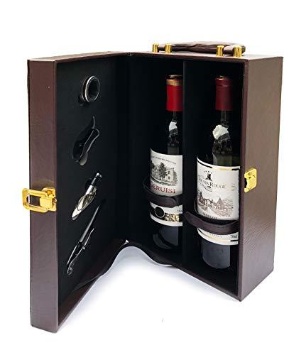 Elegante Weinkiste für 2 Flaschen mit Werkzeugen - Ledergebunden mit Tragegriff - Korkschraube, Ausgießer, Folienschneider, Servietten/Tropfring {Wein nicht im Lieferumfang enthalten}