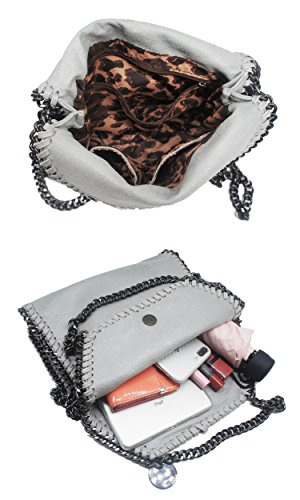 Artone Da Donna Pu Casual Catena Messenger Borsa Crossbody Nero Borsa crossbody Grigio misura mini ipad