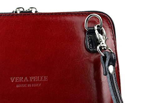 H&G Vera Pelle Trapezoid Shaped Mini Italian Real Leather Cross-Body Handbag (Purple) Red & Black