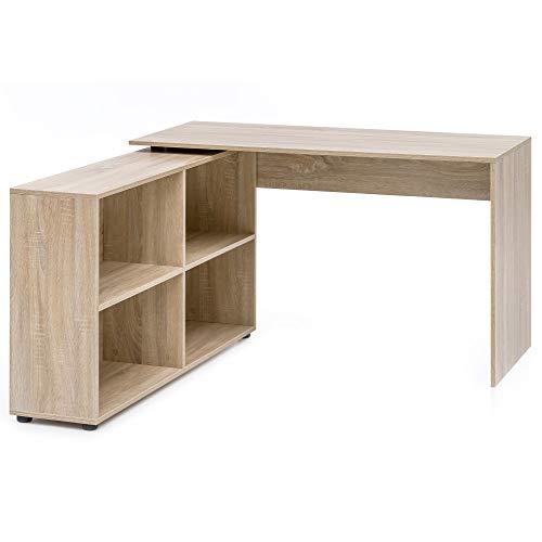 FineBuy Eckschreibtisch mit Regal 90-180° Winkelschreibtisch Holz Sonoma Eiche | Büro PC Schreibtisch 130 x 60 x 75 cm | Computertisch -