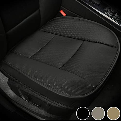 LUOLLOVE Coprisedile Universale Auto Anteriori Super Soft Confortevole Traspirante PU Protezione per Sedile Auto (1 Pezzo Nero)