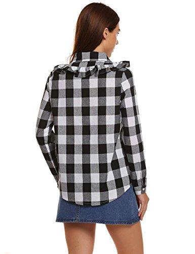 Meaneor Damen Langarmshirt Buttons Freizeit Abgerundeter Saum Volant kariertes Hemd Bluse Oberteil Schwarz/Weiß