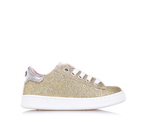 TWIN-SET – Goldener Schuh mit Schnürsenkeln aus Glitzern und Leder, phantasievoll und modisch, seitlich ein Reißverschluss, Mädchen - 2