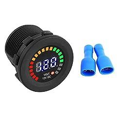 Voltmetro da 12 V – 1 PC di 12 V Voltmetro per display digitale LED per auto da moto, Voltometro volt per voltaggio impermeabile nero Nuovo.