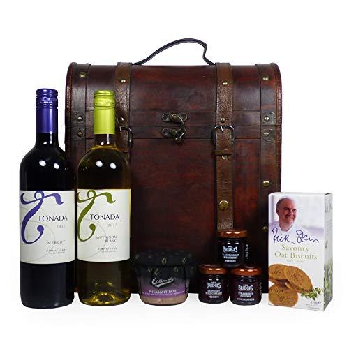Deluxe 'Clarendon' Weintrader in stile antico di legno con tonada vino e gastronomia - l'idea del regalo per compleanni, pensione, anniversario, come un ringraziamento