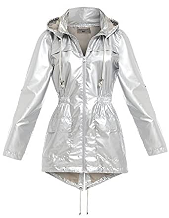 NEU SS7 Damen Wasserabweisend Regenmantel, silber