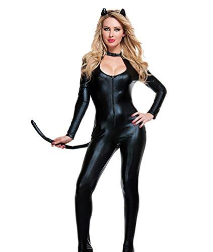 YOUJIA Damen Wet Look Catwoman Catsuit Karnevalskostüme Halloween Cosplay Mottoparty Kostüme Katzen-Kostüm mit Schwanz Schwarz
