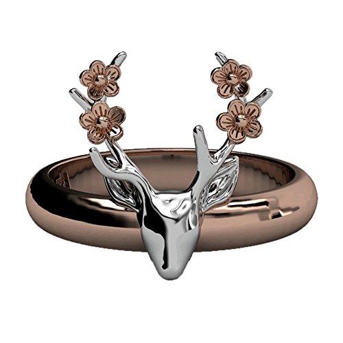 EVBEA Ring Damen Rosegold Hirsch Ring Gravur Rentier Geweih Ringe groß Statement schmuck mit Blumen für Mädchen