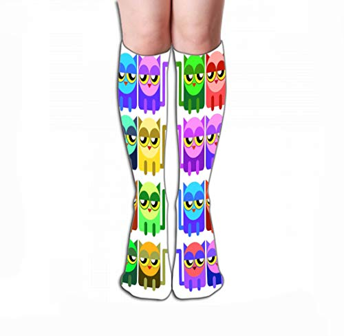 Xunulyn Hohe Socken Women's Knee High Socks Athletic Mid Calf Socks 19.7