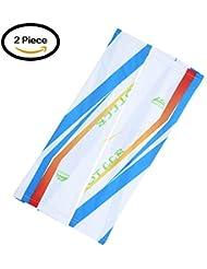 Moolecole 2 Piezas Hielo Seda Protector Solar Cuffs Largo Mangas Ride Anti-UV Amparar Brazo Conjuntos Azul XL