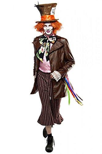 Super Deluxe Mad Hatter HERREN Kostüm Verrückter Hutmacher Alice im Wunderland, Größe:L (Verrückter Wunderland In Hutmacher Alice Kostüm)