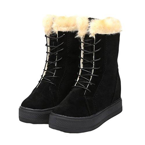 MEXI MEXI Frauen nette Winter warmer Aufladungen Komfort Schuh flache runde Zehe Kn?chel Style-03-Schwarz