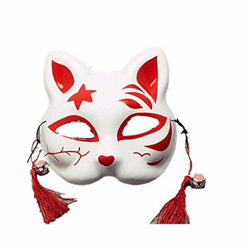 ,Handgemaltes halbes Gesicht Katzenmaske Cosplay Ball Maske Q Masquerade ()