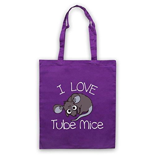 I Love Mouse-Borsa a tubo, motivo: aforismi [lingua inglese] Viola