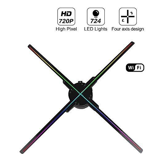 FENGMM 65CM WiFi 3D Hologramm Projektor Fan, vierachsiger Design Videoprojektor, LED Display Werbung holographisches Licht, APP-Steuerung