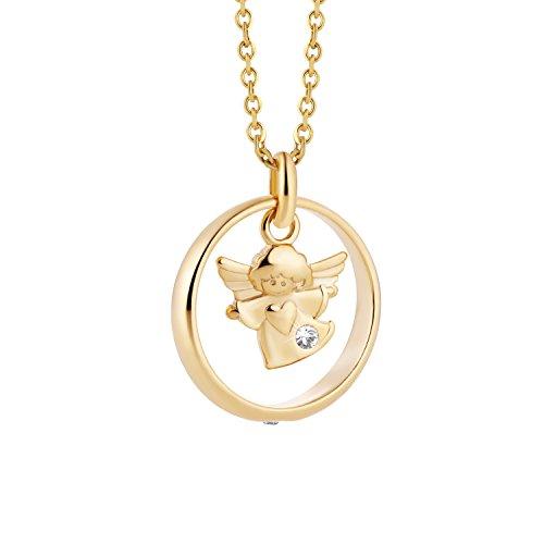 fish Mädchen Jungen Halskette Gold 333 Echtgold Schutzengel-Anhänger Taufring Taufgeschenk Klar Längen-verstellbar Geschenkbox Kleinkind Geschenk