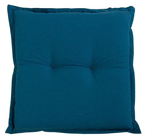 Stuhlkissen Sitzkissen Sitzpolster Gartenstuhlauflage PETRO 2 | B 50 cm x L 50 cm | Petrol | Baumwolle | Polyester
