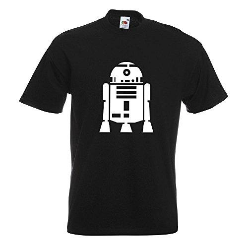 KIWISTAR - R2D2 Astromechdroide T-Shirt in 15 verschiedenen Farben - Herren Funshirt bedruckt Design Sprüche Spruch Motive Oberteil Baumwolle Print Größe S M L XL XXL Schwarz