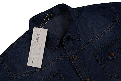 Coofandy Herren Jeanshemd Regular Fit 4 Farben Figurbetont Denim Freizeit Langarm Jeanshemden mit Tasche 31-Dunkelblau