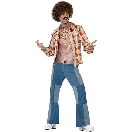 Amakando Brusthaar Toupet Oberteil 70er Jahre Hemd L 52/54 Top mit Brusthaaren Aufdruck Brusthaartoupet Shirt Karneval Kostüme Herren Hippie Mottoparty Kostüm Zubehör Brust mit - Kostüm Brust Shirt
