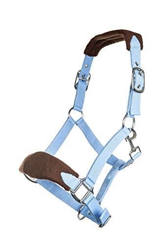 HKM 87426421.0618 Nylonhalfter mit weicher Polarfleece Polsterung Pony, babyblau/braun