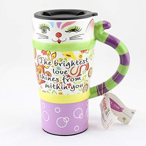 CJH Couple créatif tasse chat peint tasse tasse animal mignon avec couvercle avec une tasse de café en céramique tasse à café