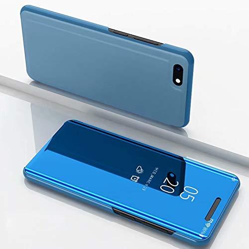 WANTONG Funda de Piel XINGCHEN - Espejo de galvanoplastia Horizontal Funda de Cuero con Tapa for Xiaomi Redmi Go, con Soporte (Negro) XINGCHEN (Color : Sky Blue)