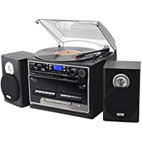Steepletone SMC386r BT, 8 in 1 Retro Music System, Bluetooth, 3 Speed Record Turntable, CD Player, FM/MW Radio. Playback/RECORDING: USB Stick/SD Card, TWIN Cassette Player/RECORDER, Standard, Black