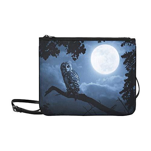 WYYWCY Ruhige Nacht Heller Mond steigt über Custom High-Grade Nylon Slim Clutch Crossbody Bag Umhängetasche