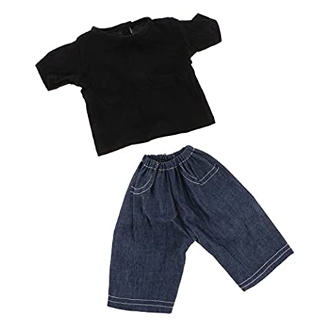 MagiDeal Casual Black Short Sleeve T-shirt and Jeans for 18'' American Girl Journey Doll Clothing