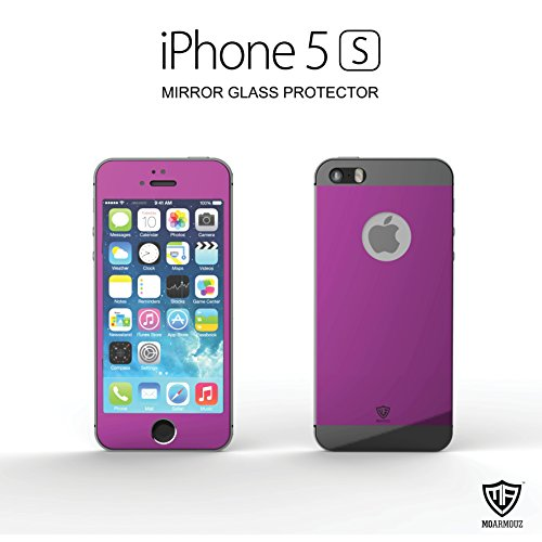 MoArmouz® FRONT and BACK Super Tempered Glass Screen Protector For iPhone 5s, iPhone 5, iPhone 5c, iPhone SE Screen Guard, Screen Protector - High Quality / HD /9H Hardness / Mobile Accessories / Screen Protectors (PURPLE BLACK)
