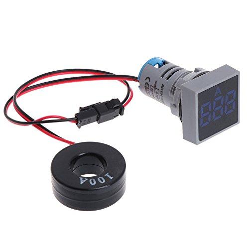 TJW 22mm 1-100A Voltmeter Amperemeter, LED-Anzeige Current Meter Quadratisch Signal-Licht Tester Meter mit Aktuellen Transformer Blau -
