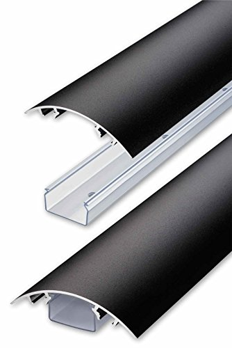 TV Design Aluminium Kabelkanal in schwarzmatt Feinstruktur lackiert in verschiedenen Längen von ALUNOVO (Länge: 20cm) - 2