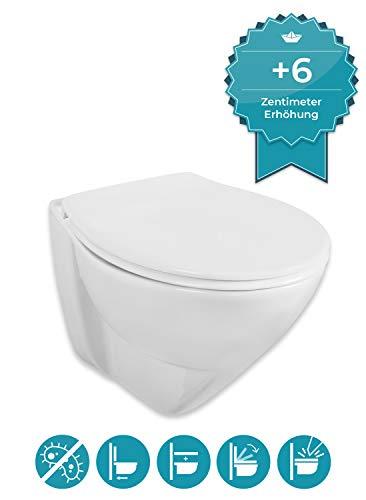 Calmwaters® erhöhtes Wand-WC mit 6 cm Erhöhung im Set mit WC-Sitz Jarron 2.0, Tiefspüler, Hänge-Toilette, Duroplast-Deckel mit Soft Close Absenkautomatik, Fast-Fix Schnellbefestigung, 08AB5563