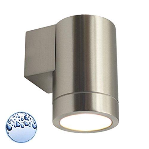 LED Wandleuchte / Wandlampe / Außenleuchte / Up Down / 1-Flammig / Edelstahl / Form:F / IP44 / GU10-230V (Warmweiß)