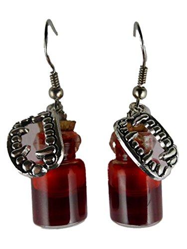 Ohrringe Hänger Ohrhänger Flasche Fläschchen Glas gefüllt mit Kunstblut Blut rot Flüssigkeit Gothic Vampir Halloween und Charm Zähne - Charms Halloween Glas