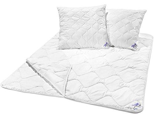Traumnacht 03831469154 3-Star Bettenset 4-Jahreszeiten, 1 x teilbare Bettdecke 200 x 200 cm und 2 x Kopfkissen 80 x 80 cm, weiß