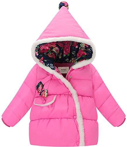 ZOEREA Mädchen Daunenjacke mit Kapuze Prinzessin Blumen Wintermantel Snowsuit für Kinder