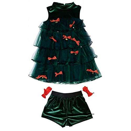 BESTOYARD Weihnachtsbaum Kostüm mit Schleife Kleid Hosen Armband Weihnachten Kostüm für Erwachsene Frauen 3 Stück (Weihnachtsbaum Kostüm Kleid)
