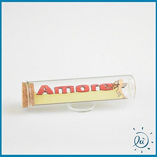 Tubicino in vetro scritta legno amore misura 3x11 cm | tubi in vetro per bomboniere matrimonio nascita comunione e idee regalo casa e coppia