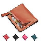 Geldbörse Damen mit Münzfach, Everwell Premium Leder Kleine Geldbeutel RFID Schutz - 7 Kartenfächer - Mini Klein Portemonnaie Portmonee Geldtasche mit Reißverschluss