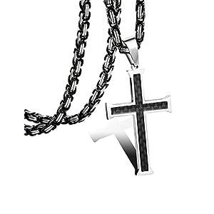 sailimue 5mm Edelstahl Kohlefaser Männer Kreuze Halskette für Herren Damen Byzantinische Kette 56-76CM