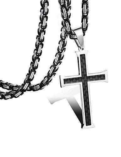 sailimue 5mm Edelstahl Kohlefaser Männer Kreuze Halskette für Herren Damen Byzantinische Kette 61CM